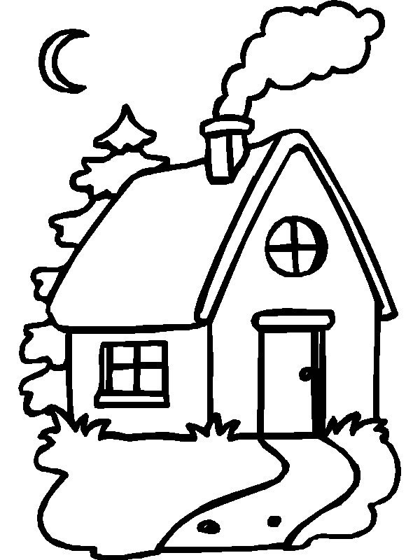 Casas para colorear dibujos online for Little house in the big woods coloring pages